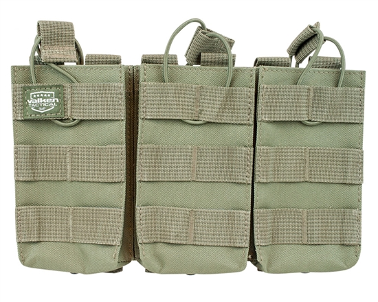 Valken Tactical Vest Accessory Pouch - Three Magazine AR Pouch (Green)