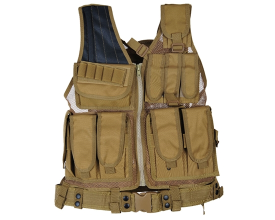 Defcon Gear Tactical 600 Denier Crossdraw Airsoft Vest - Flat Dark Earth