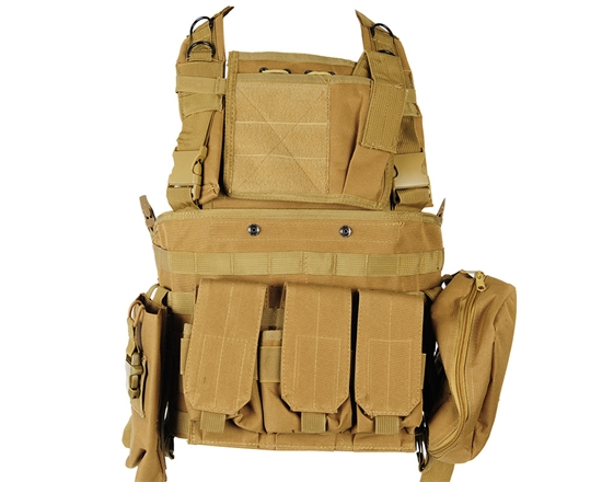 Defcon Gear Tactical 600 Denier Airsoft Vest - Commando Chest Rig - FDE