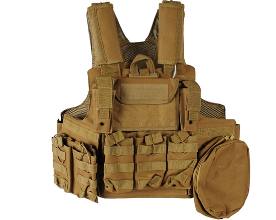 Defcon Gear Tactical 900 Denier Complete CFR Carrier Airsoft Vest - Coyote Brown