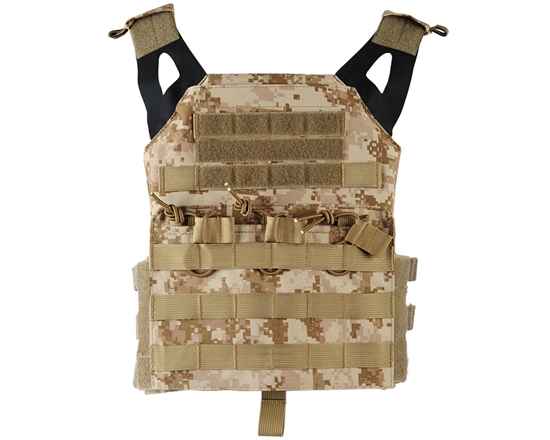 Defcon Gear Tactical Plate Carrier Airsoft Vest - Low Profile - Digital Desert