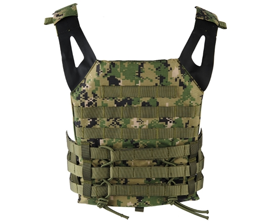 Defcon Gear Tactical Plate Carrier Airsoft Vest - Low Profile - Digital Woodland