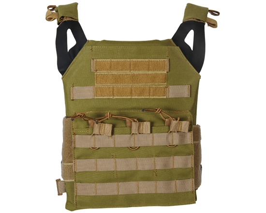 Defcon Gear Tactical Plate Carrier Airsoft Vest - Low Profile - Olive Drab/Tan