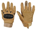 Warrior Airsoft Full Finger Carbon Knuckle Gloves - Tan
