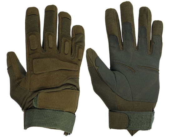 Warrior Airsoft Full Finger Padded Gloves - Olive