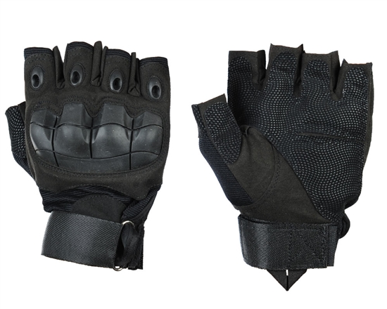 Warrior Airsoft Half Finger Flex Knuckle Gloves - Black