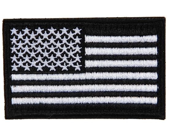 Warrior Airsoft Velcro Patch - US Flag - Black/White
