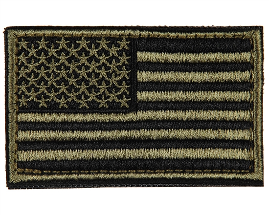 Warrior Airsoft Velcro Patch - US Flag - Olive/Black
