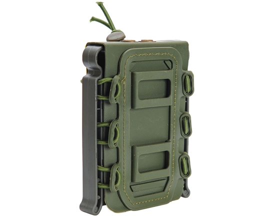 Warrior Tactical Vest Accessory Pouch - AR15 Single Magazine Molle Pull Down - Olive Drab