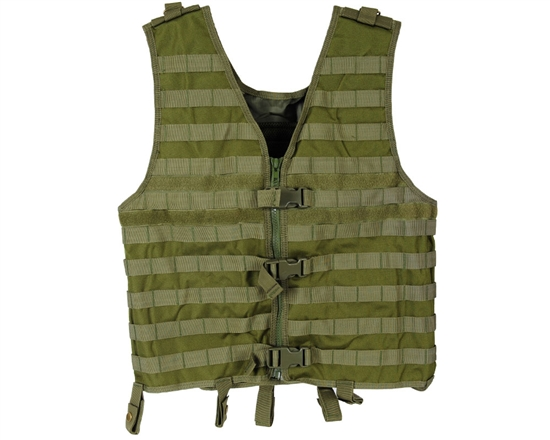 Warrior Zip Up Vest - Molle - Olive Drab
