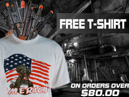 Get a free airsoft sponsored t-shirt with any order over $80.00.
